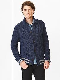 Cable knit mockneck cardigan