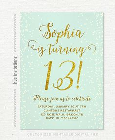 Birthday Party Invitations Teen Girl Mint And Gold Turquoise Glitter Printable 13th P