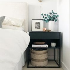 neutral bedroom decor ideas, modern meets traditional bedroom design, neutral be. Bedside Table Decor, Ikea Nightstand, Black Nightstand, Nightstands, Cool Bedside Tables, Bedside Table Styling, Modern Bedside Table, Nightstand Ideas, Home Decor Bedroom