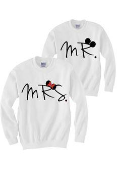 Mr. and Mrs. for the honeymoon sweatshirts