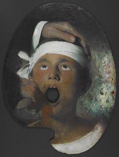 "Joseph Decker, ""Boy at the Dentist"" (n.d.), oil on board"