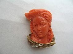 Museum Quality Art Nouveau Coral Lady Cameo 18 K Gold Diamond Brooch Pin | eBay