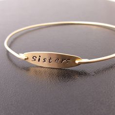 Sisters Bracelet - Sisters Gift - This hand stamped bracelet is a perfect present to show your bond to your sister or best friend. And also makes a