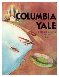 1934 Yale Bulldogs vs Columbia Lions 22x30 Canvas Historic Football Poster