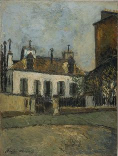 Maurice Utrillo - House in the Suburbs of Paris, unknown date. Amedeo Modigliani, Ste Marguerite, Auguste Herbin, Maurice Utrillo, Post Impressionism, Art Database, Paris, French Artists, Art Pictures
