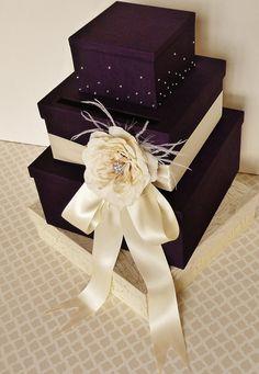 purple card box rhinestones | Wedding Card Box Money Holder Purple Plum Ivory NEW Design Crystals ...
