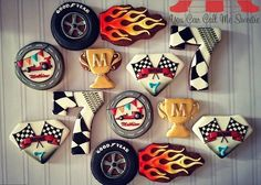 Racing cookies - these would be cute to serve at a pinewood derby or something