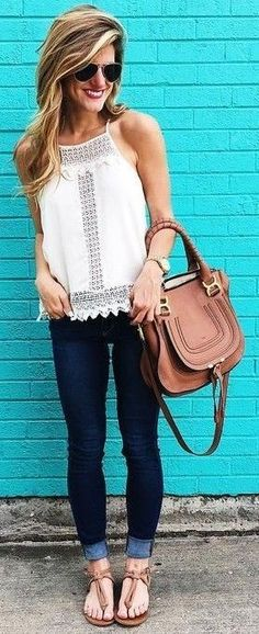 #summer #street #style | Lace + Denim