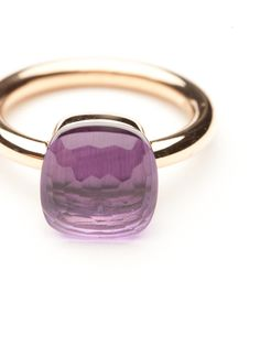 Special OrderThe stunning stacking Nudo ring collection from Pomellato can't be beat. Every combination of stones makes for a unique personalized look.  This ring is made of 18kt rose gold with a faceted amethyst set over platinum.