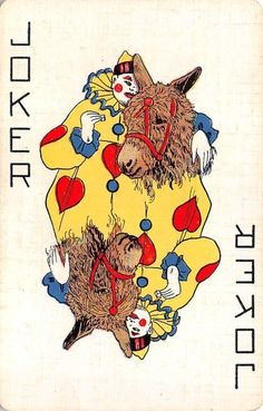 Clown Donkey Burro Reversible Joker Single Swap Playing Card