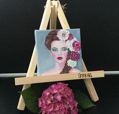 Beautiful woman 10x10' original painting Oil on canvas  art by Aleksandra . #minicanvas #beautiful #hairflowers #painting #artwork #woman #oiloncanvas #konst #pinsterart