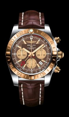 Chronomat 44 GMT traveler's watch by Breitling - Steel and 18K rose gold case, Metallica brown dial, brown croco strap.