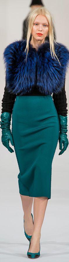 #Oscar de la Renta Fall/Winter 2013-2014 RTW FW #Trend New Fur #Trend Blue