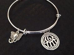 Silver Elephant and Hamsa charm on a Silver by JulesObsession