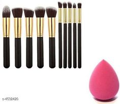 Checkout this latest Makeup Brushes Product Name: *Premium Choice Beauty Care Products * Product Name: 10 Pcs Off Black Makeup Brush With Sponge Puff Product Type:  Makeup Brush &  Sponge Puff Material: Handle - Wooden  Brush - Synthetic  Package Contains: It Has 10 Pieces Of Makeup Brushes  And 1 Piece Of Sponge Puff Country of Origin: India Easy Returns Available In Case Of Any Issue   Catalog Rating: ★3.9 (900)  Catalog Name: makeup combo Premium Choice Beauty Care Products CatalogID_655627 C167-SC2026 Code: 162-4532420-675