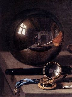 Pieter Claesz - Detail of the Vanitas with Violin and Glass Ball (1628).