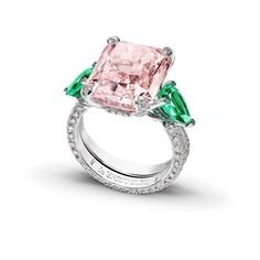 Pink diamond and emerald ring