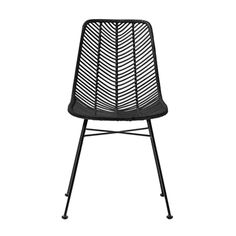 Bloomingville Lena Dining Chair in Natural Rattan and black iron frame. The curvy seat is woven in rattan to create a herring bone unique pattern.