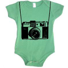 Vintage Toy Camera Baby Boy Onesie Bodysuit - American Apparel - 3-6m,... ($17) ❤ liked on Polyvore
