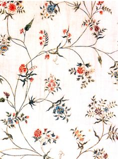 Detail of resist-dyed and gilded fabric from an overdress of c 1780 at the V
