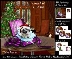 Yule Tide Magic Mistletoe Kisses From Cute Hedgehog Jed Tag  on Craftsuprint - Add To Basket!