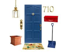 "2009 primed poplar and MDF entry door, $395, roguevalleydoor.com for stores; Schlage Addison adjustable exterior entry door handleset in lifetime bright brass finish, $104, lowes.com; Fleur de Lys 6""-tall door knocker in polished brass finish, $115, michaelhealy.com; Crescent Garden Estate Weathered Terracotta 21 3/4"" x 24"" resin planter, $235, jamaligarden.com."