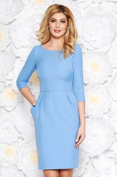 StarShinerS blue office midi pencil dress slightly elastic fabric with pockets, with pockets, tented cut, sleeves, back zipper fastening Daily Dress, New Dress, Blue Office, Spring Is Here, Office Dresses, Dress Cuts, Office Fashion, Pencil Dress, Size Clothing