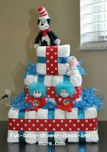 Dr. Seuss diaper cake. Someone please do this for me when I have a baby! Haha