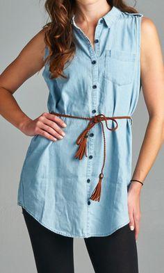 Sleeveless shirt dress for your hot summer! #specialajeans #shirtdress #sleevlessshirt #indigodenim