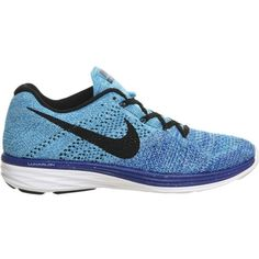 NIKE Flyknit Lunar 3 trainers ($210) ❤ liked on Polyvore featuring shoes, sneakers, game royal black, black lace up shoes, black sneakers, black laced shoes, almond toe shoes and black shoes