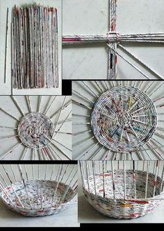 13. #Woven Basket - 33 #Crafty Ways to Use Old Magazines ... → DIY #Unique