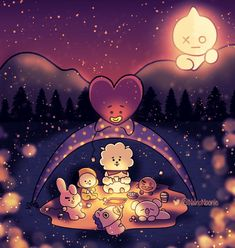 Bts x fanart Cartoon Wallpaper, Bts Wallpaper, Bts Drawings, Bts Chibi, Bts Lockscreen, Album Bts, Bts Pictures, I Love Bts, Cute Wallpapers