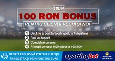 100 ron BONUS exclusiv la Sportingbet pentru clientii vechi si noi - Ponturi Bune