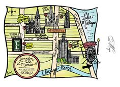 Hand-drawn Chicago Wedding Map for Invitation Suite