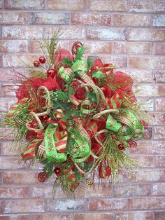 Christmas Wreath, Classic Christmas Wreath, Whimsical Christmas Wreath ...