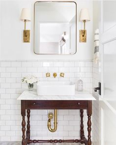 My Dream Powder Room Design Board. This chic powder room design features a rustic vanity, a rectangle mirror, chic lighting and contemporary art. Bathroom Inspiration, Bathroom Decor, Vanity, Interior, Bathrooms Remodel, Bathroom Makeover, Bathroom Mirror, House Interior, Bathroom Design