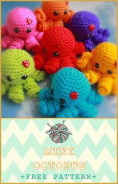 -x- EssHaych -x-: Free Pattern Friday – Mini Octopus Octopus Crochet Pattern Free, Crochet Octopus, Crochet Amigurumi Free Patterns, Crochet Fish Patterns, Easy Knitting Projects, Yarn Projects, Crochet Projects, Crocheted Jellyfish, Crochet Decrease