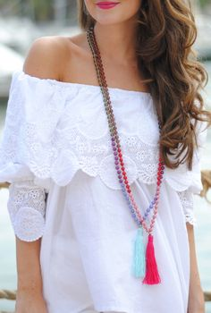 Off-shoulder Top With Lace Trim southerncurlsandpearls