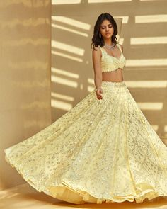 Indian Dresses, Indian Outfits, Heavy Lehenga, Mehndi Outfit, Yellow Lehenga, Silver Sequin, Bridal Lehenga, Denim Fashion, Designer Dresses
