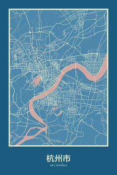 Hangzhou map print