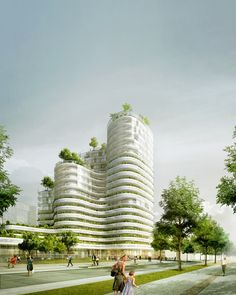 Image 4 of 10 from gallery of Housing Units in Nantes Winning Proposal / Hamonic + Masson. Photograph by Hamonic + Masson Green Architecture, Futuristic Architecture, Architecture Design, Future Buildings, Modern Buildings, Architecture Visualization, Architecture Drawings, Tower Design, High Rise Building