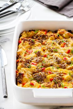 Make-Ahead Breakfast Casserole is loaded with sausage, cheese and eggs. Assemble it the night before for a simple, delicious breakfast in no time!