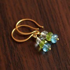 Gemstone Earrings Blue and Green Drop Earrings by livjewellery