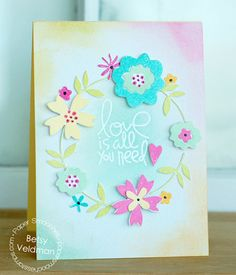Card by PS DT Betsy Veldman using the PS Love-Struck stamp set along with the Calico and Flowers dies