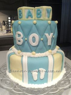 Cool Baby Shower Cake for a Boy... This website is the Pinterest of birthday cake ideas