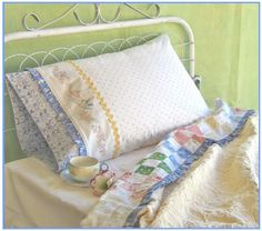 Happy Dreams Bedding Set ~ The pattern shows you how to take a purchased twin or queen flat sheet and turn it into something extra special.