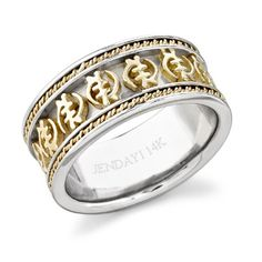 Braided Gye Nyame Eternity Band Hand Crafted Comfort Fit Two Toned 14k White And African WeddingsAdinkra