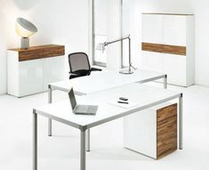 Office Workspace. Awesome Modern Office Desk White : Stylish And Formal Home Office Desk Designs. Long Office Desks, Black Swivel Chair Toge...