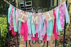 Pretty in Pink Carnival Themed First Birthday High Chair Banner by KraftinMommy