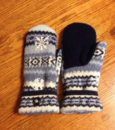 Soft and warm handmade wool sweater mittens by RoundRobinRestyle